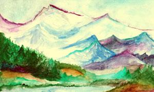 水彩风格湖光山色绘画创意高清图片