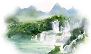 山间树丛瀑布水彩绘画创意高清图片