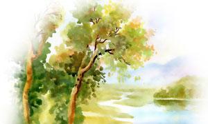 湖畔树木风光水彩绘画创意高清图片