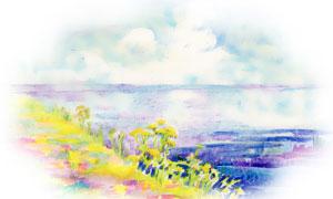 花草植物田园风光绘画创意高清图片