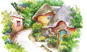 小路边的蘑菇屋水彩画创意高清图片
