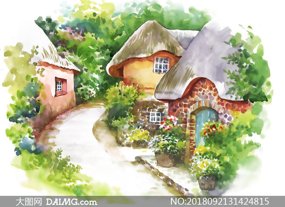 绘画美术艺术水彩花卉植物花草花朵农家院小路树木鲜花房子房屋蘑菇屋图片