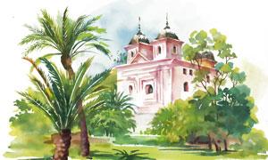 树木掩映的房子水彩画创意高清图片