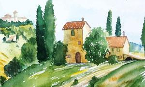 树木与房子等田园风光水彩绘画图片