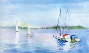 水面上的帆船水彩绘画作品高清图片