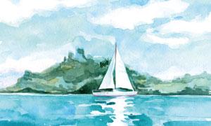 海面上航行的帆船水彩绘画高清图片