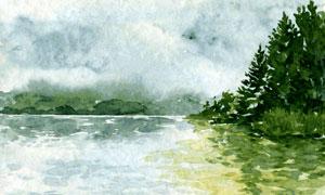 湖畔树木自然风光绘画创意高清图片
