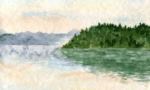 湖畔山峦树丛风光水彩创意高清图片