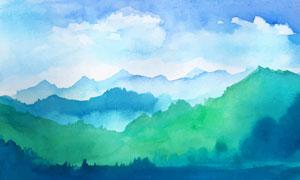连绵起伏的山峦水彩画创意高清图片