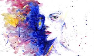 水彩风格人物绘画创意设计高清图片