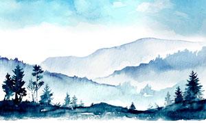 水彩创意山间树木风光绘画高清图片