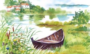 靠在湖边的一只小船水彩画高清图片