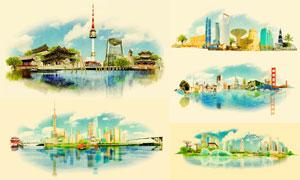 世界各地地标建筑创意矢量素材集V04