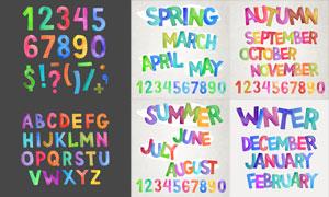 繽紛水彩數字與字母等創意矢量素材
