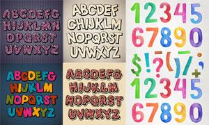 水彩与圆圈图案装饰的字母矢量素材
