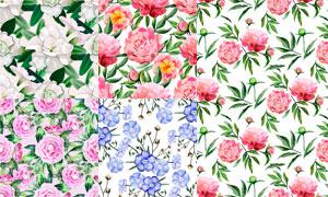水彩效果绿叶花卉图案背景矢量素材