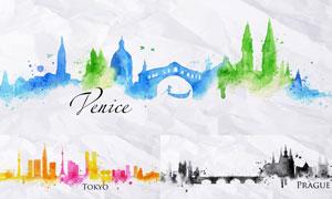 威尼斯等城市水彩剪影创意矢量素材