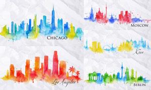 缤纷水彩城市建筑剪影创意矢量素材