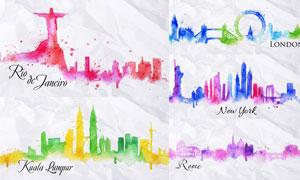五颜六色的水彩城市建筑群矢量素材