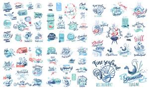 手繪效果海洋生物標簽設計矢量素材