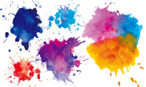 手绘水彩效果颜料元素等矢量素材V2