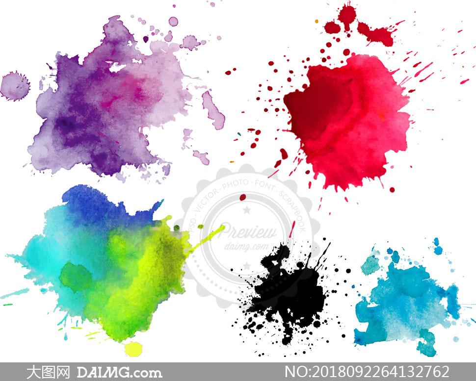 手绘水彩效果颜料元素等矢量素材v3
