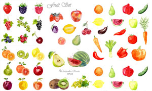 多款水彩风格水果创意设计矢量素材