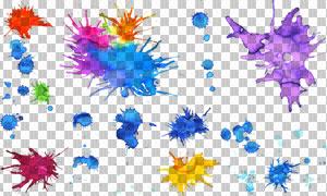 多款喷溅效果颜料元素免抠高清图片