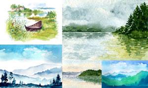 自然风光主题水彩画创意矢量素材V01