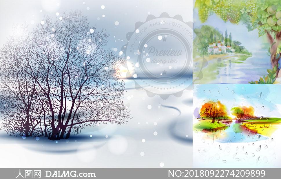 自然风光主题水彩画创意矢量素材V02