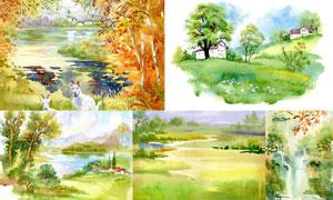 自然风光主题水彩画创意矢量素材V03
