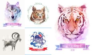 水彩创意逼真动物主题矢量素材V02