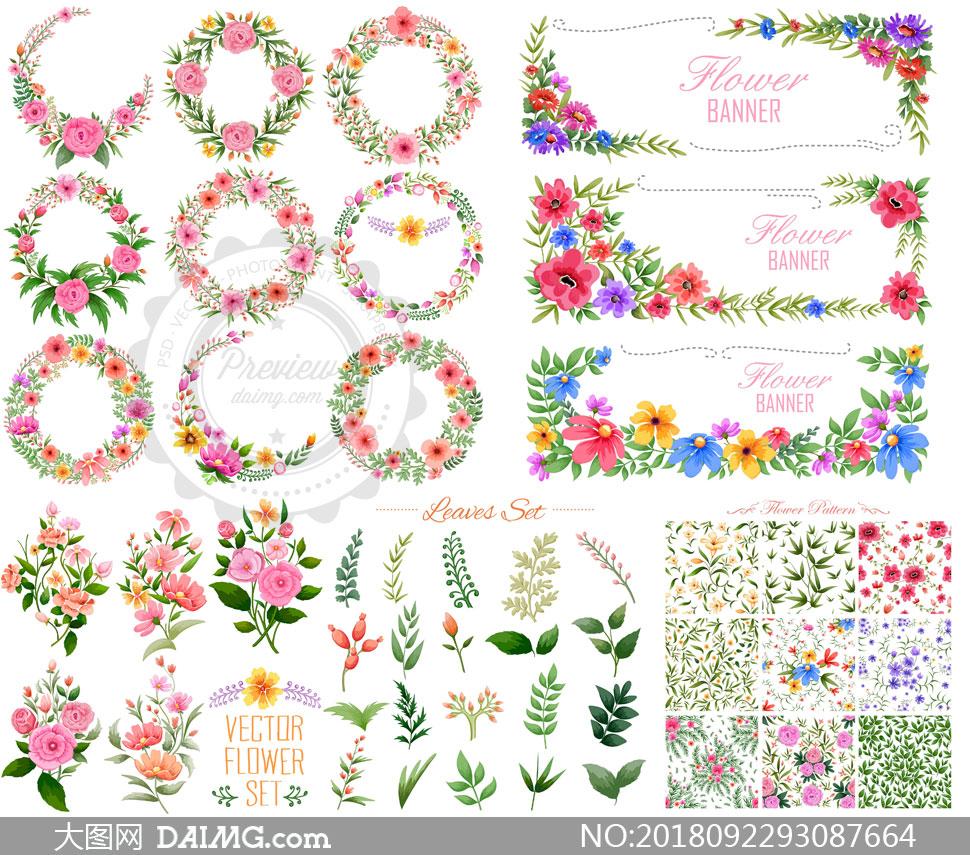 花卉植物鲜花花朵藤蔓花藤绿叶红花边框图案背景无缝拼接平铺花边圆形
