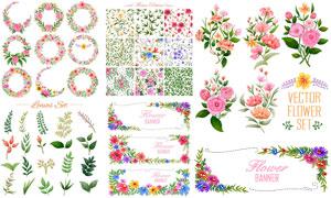 花朵藤蔓元素装饰边框设计矢量素材