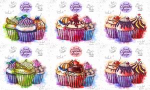 不同配色組合杯子蛋糕設計矢量素材