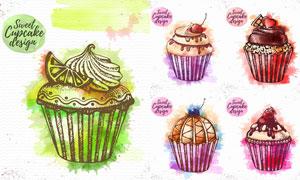 水果巧克力等水彩杯子蛋糕矢量素材
