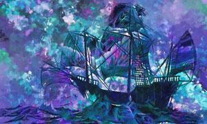 汹涌波涛上的帆船绘画创意高清图片