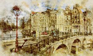 欧洲城市建筑桥梁风光绘画高清图片
