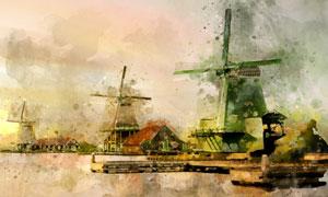 水边的风车屋水彩创意绘画高清图片