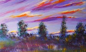 天空云彩树木抽象绘画创意高清图片