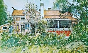 房子树丛庭院风光绘画创意高清图片