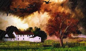 树木房子草丛风景绘画创意高清图片