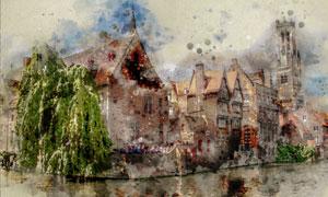 水边的欧洲建筑物景观绘画高清图片