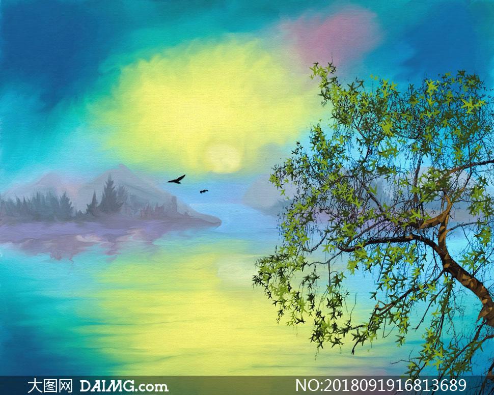 黄昏山峦湖泊风光绘画创意高清图片