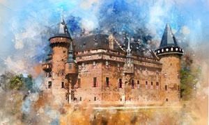 水彩装饰创意城堡建筑绘画高清图片