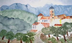 树木房子小路风光水彩绘画高清图片