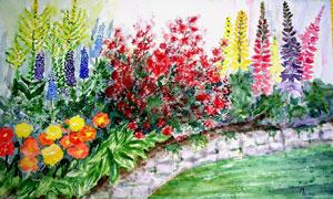 池塘边的鲜花植物绘画创意高清图片