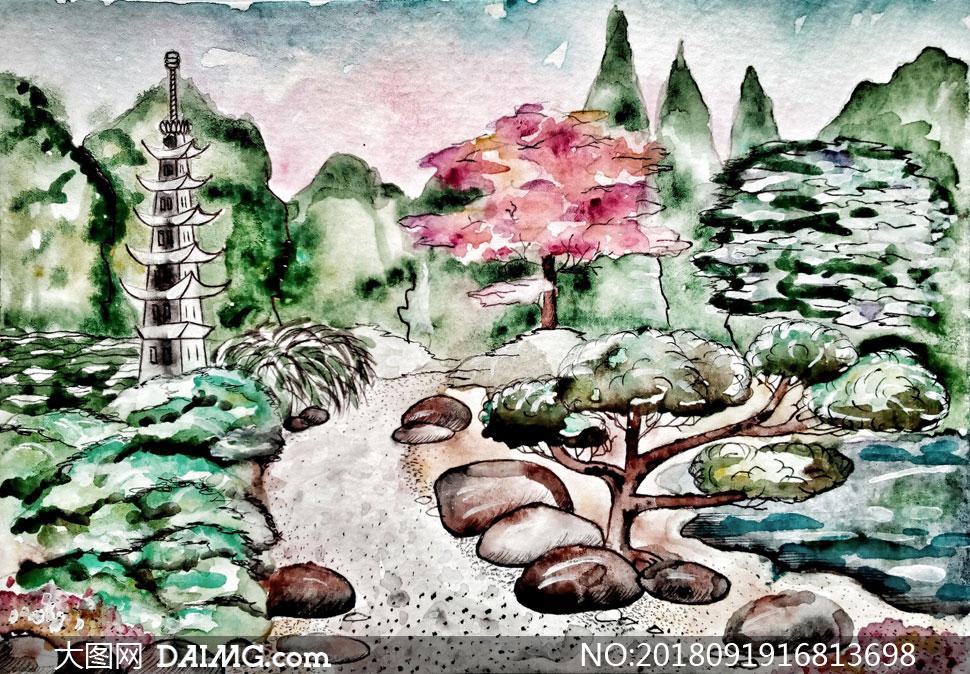 创意美术作品画作手绘风景风光自然树木大树大山高山山峰岩石石头山峦