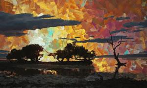 黄昏湖畔树木剪影抽象绘画高清图片