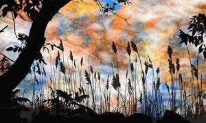 天空云彩与树木剪影等绘画高清图片